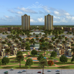 Views of the Villas and City with towers